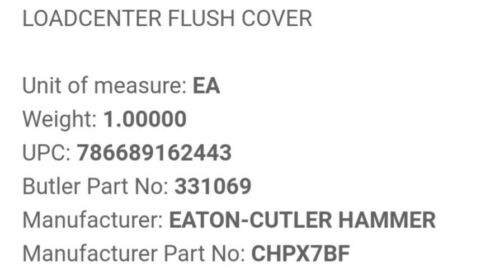 Eaton CHPX7BF Flush// Surface Loadcenter Cover