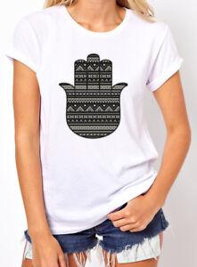 a06f8819 Hamsa Hand Aztec Women's T-shirt. Black white tribal hand of god ...