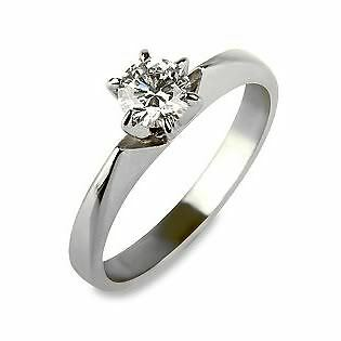 SOLITAIRE ROUND CUT REAL NATURAL 0.45 CT DIAMOND 14K WHITE GOLD BETROTHAL RING
