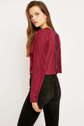 Urban Outfitters Sparkle /& Fade Zip Back Top XS Brand New RRP £26 Maroon