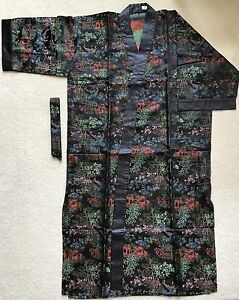 NEW-Asian-Inspired-Brocade-Black-Tea-House-Pattern-Kimono-Robe-8817