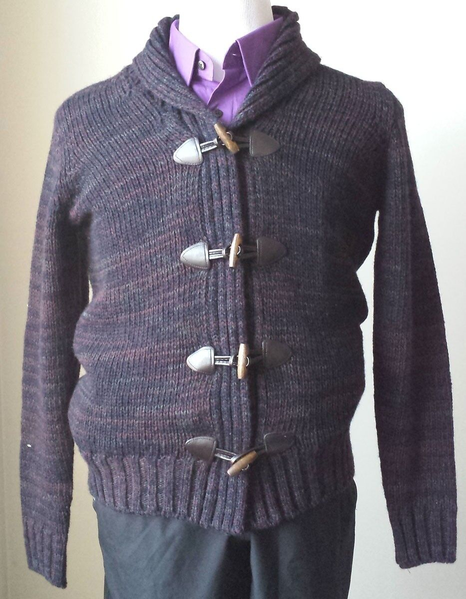 Daniele Blasi Men Größe S Wool Blend Cardigan Shawl Collar Made in