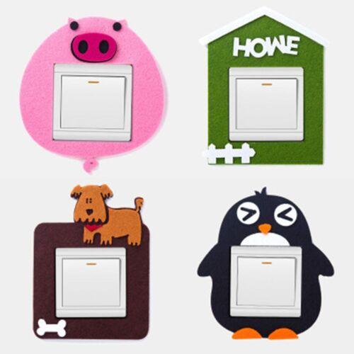 Cute Felt Animal Pattern Switch Paste Bedroom Decorative Wall Stickers Switch