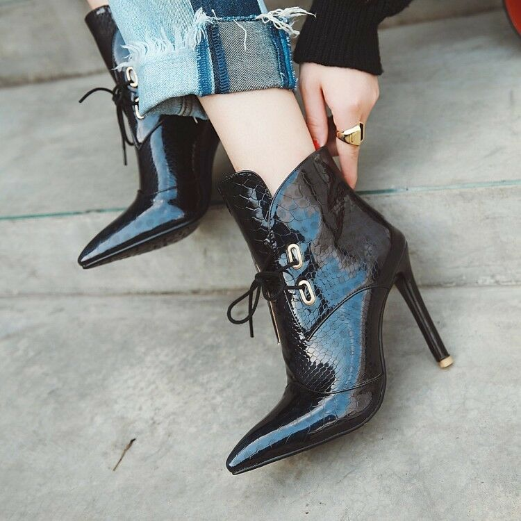 Women's Shiny Ankle Boots High Heels Pointed Toe Lace Up Stilettos Party shoes
