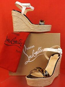 what is the best replica shoe website - Louboutin Spachica Leopard Print Espadrille Wedge Leather Sandals ...