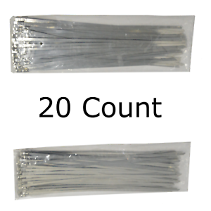 12 QTY 20 Stainless Steel Wire Zip Ties Industrial Strength Self Locking Band