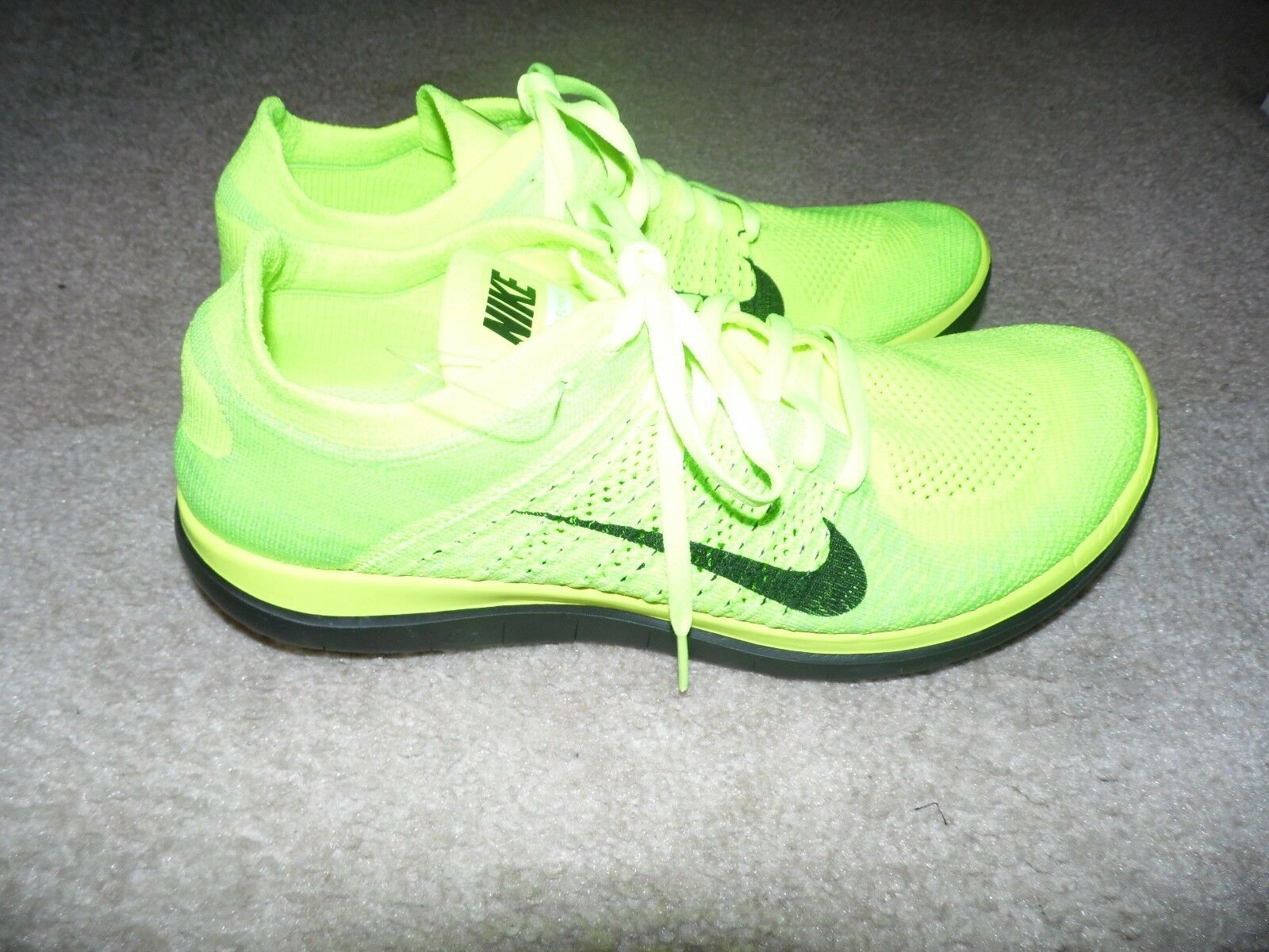 New Sz 13 Men's Nike Free Flyknit 631053 700 Volt Black Electric Green
