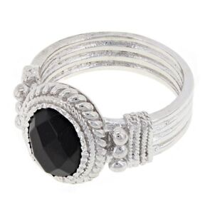 925-Sterling-Silver-Natural-Oval-Black-Onyx-Solitaire-Cocktail-Ring-Sizes-6-8