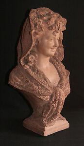 Buste-de-demoiselle-au-foulard-Statue-en-terre-cuite-Laure-Coutan-Martin-XIX-eme