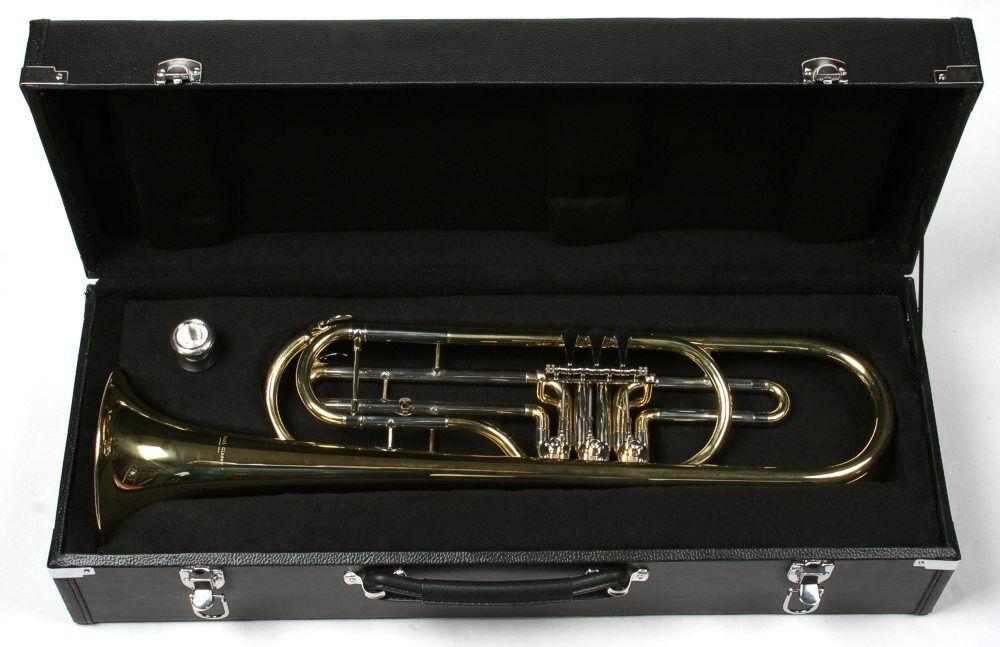 Basstrompete Bb Drehventile Tenortrompete Gold mit Koffer