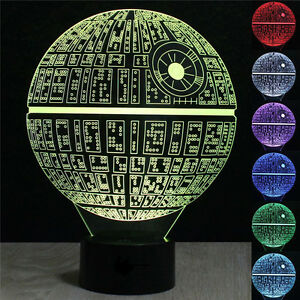 3D LED Desk Table Lamp Star Wars Death Star Bulb Illusion Night Light Touch Leds