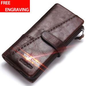 Men-039-s-Genuine-Leather-Long-Wallet-RFID-Blocking-Bifold-Card-Holder-Purse-Vintage