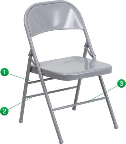 HERCULES Series Triple Braced & Quad Hinged Gray Metal Folding Chair NEW