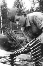 WWII B&W Photo Russian Female Soldier Ammo  WW2 /1064