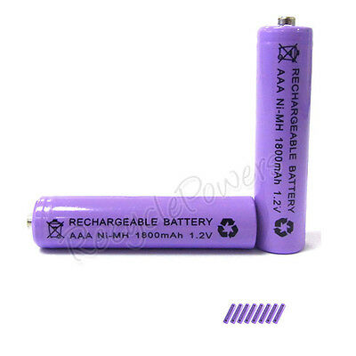 8 pcs AAA 3A 1800mAh Ni-MH Rechargeable Battery Purple