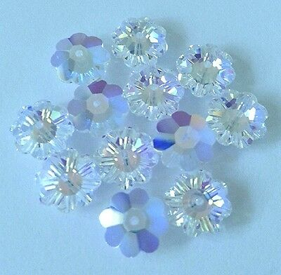36 Swarovski 3700 Flower Margarita Beads CRYSTAL AB 6mm