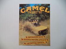 advertising Pubblicità 1983 CAMEL TROPHY 83 ZAIRE