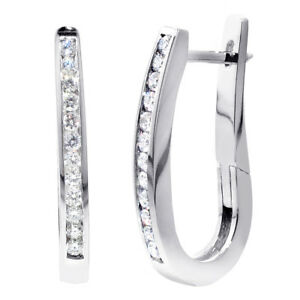 0-80-CT-Channel-Set-Diamond-Hoop-Earrings-in-14k-White-Gold-New