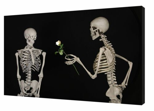 SKELETON COUPLE PHOTO//PICTURE PRINT ON FRAMED CANVAS WALL ART HOME DECORATION