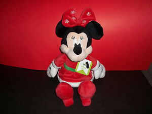 Christmas Minnie Mouse Plush.Details About Disney Baby Minnie Mouse Plush 14 Christmas Red Snowflake Bow Guc With Tag