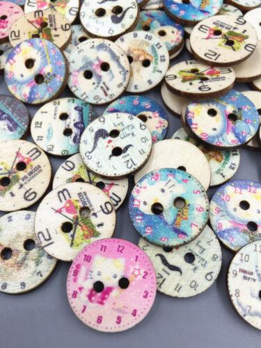 50//100pcs Rétro Horloge Mixte-Modèle en bois Boutons fit à coudre ou Scrapbook 20 mm