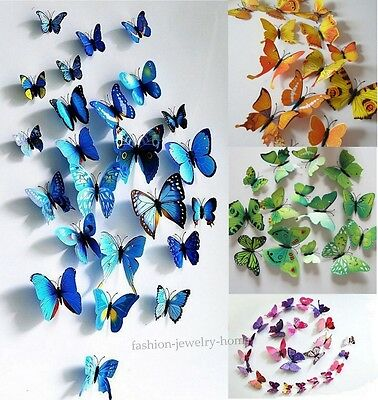 3D Butterfly Design Decal Wall Stickers Home Decor Room Decorations,Colorful