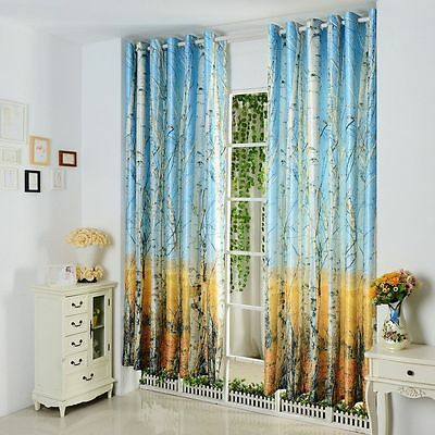 3QMart 2 Panels Thermal Blackout Window Curtains Drapes Eyelet Top Nature Print