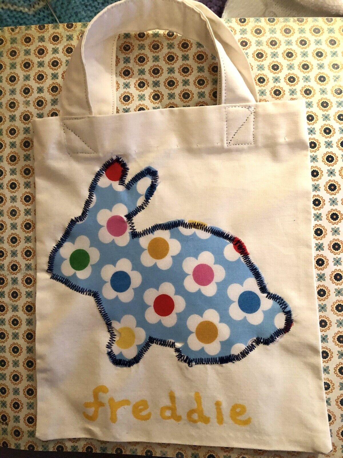 Handmade Child's Mini Easter Egg Hunt Gift Treats Bag Personalised 🐣 Appliqué