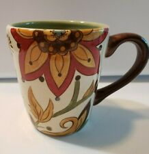 Pier 1 Carynthum Mug Cup Coffee Tea Red Yellow Green Floral Hand Painted
