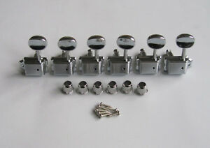 left handed chrome strat tele vintage guitar tuning keys tuners machine heads ebay. Black Bedroom Furniture Sets. Home Design Ideas