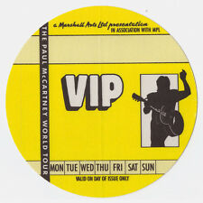 PAUL McCARTNEY 1989 World Tour VIP Backstage Pass, Unused Mint- Yellow