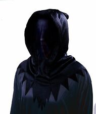 Black Invisible Mask Halloween Costume Hood Hooded Face See Through Reaper Blank