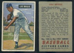 Details About 55787 1951 Bowman 155 Lou Brissie Athleticsf Indiansb Gd