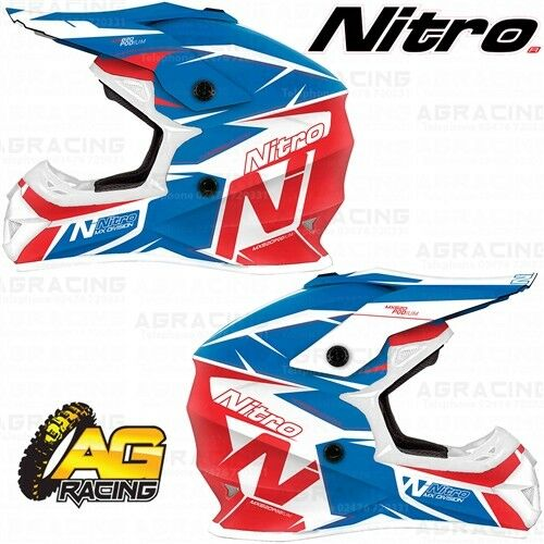 Nitro 2019 Adult Helmet MX 620 Podium Blue Red White Motocross Enduro Quad ATV