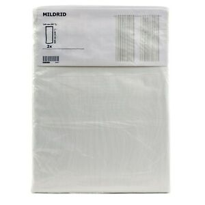 IKEA-MILDRID-2-Gardinen-in-weiss-Vorhang-Vorhaenge-145x300cm-Gardinenpaar-NEU