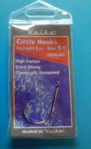 Koike High Carbon Circular Hooks 5//0 6//0 for sea fishing