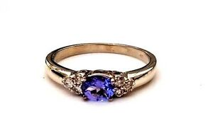 TANZANITE-amp-DIAMOND-9CT-WHITE-GOLD-CLAW-SET-ENGAGEMENT-ETERNITY-CLUSTER-RING-375