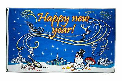 Happy New Year mit Schneemann Hissflagge Neujahr Fahnen Flaggen 90x150cm
