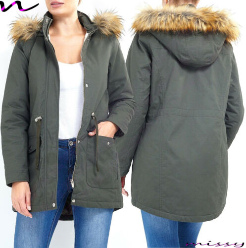 NEW Womens LADIES FUR HOODED PARKA JACKET Quilted WINTER COAT FISHTAIL Size 8-16