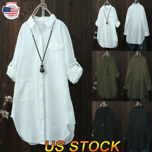 New-Women-V-Neck-Button-Casual-Ladies-Blouses-Loose-Baggy-Tops-Tunic-T-Shirts-US