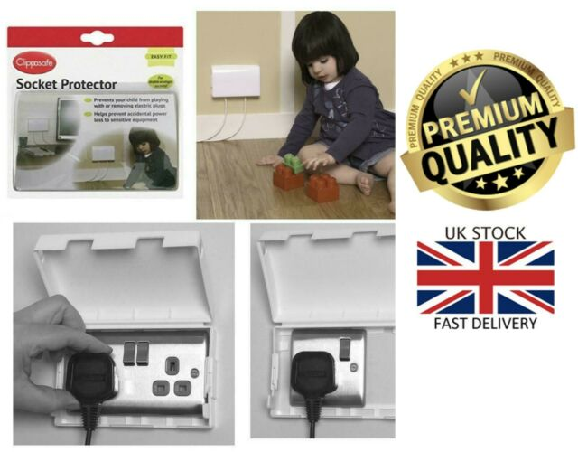 Clippasafe Doble Enchufe Protector Eléctrico Cubierta Bebé Niño Enchufe Caja De Seguridad