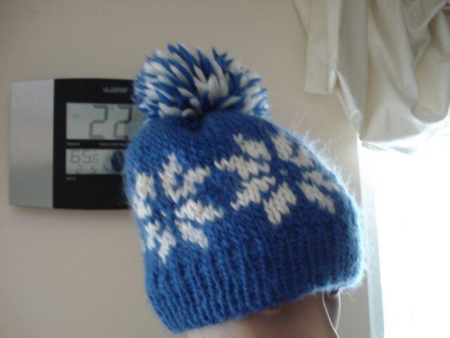 2bfa1b25185 Hand knit hat with snowflake pom pom 100%thick Merino Wool Women s Kids BLUE