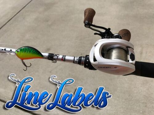 Fishing Line Label System Sticker Decal Pack Fish lb Mono Braid Fluorocarbon W/&B