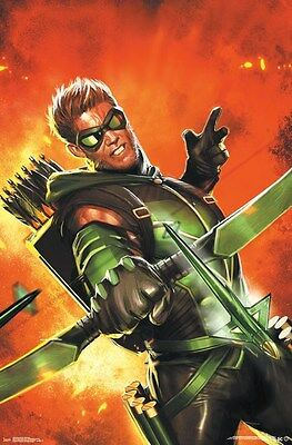 GREEN ARROW ~ EXPLOSION ~ 22x34 COMIC ART POSTER ~ NEW//ROLLED!