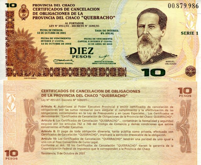 ARGENTINA 10 Pesos Banknote Paper Money World Currency NP Regional Issue 2002