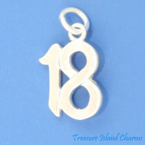 Number 18 18th Birthday Anniversary .925 Solid Sterling Silver Charm Pendant