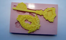 SILICONE MOULD MOLD ORNATE KEY AND KEY HOLE ICING CAKE CARD TOPPER FIMO