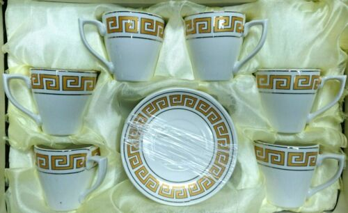 Turkish Coffee Cups Set in Versace Design Set of 6 Cups /& Saucers Gold//White