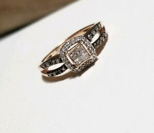 Kay Jewelers Brown Diamond 18k Rose Gold Sterling Silver Halo Engagement Ring Ebay