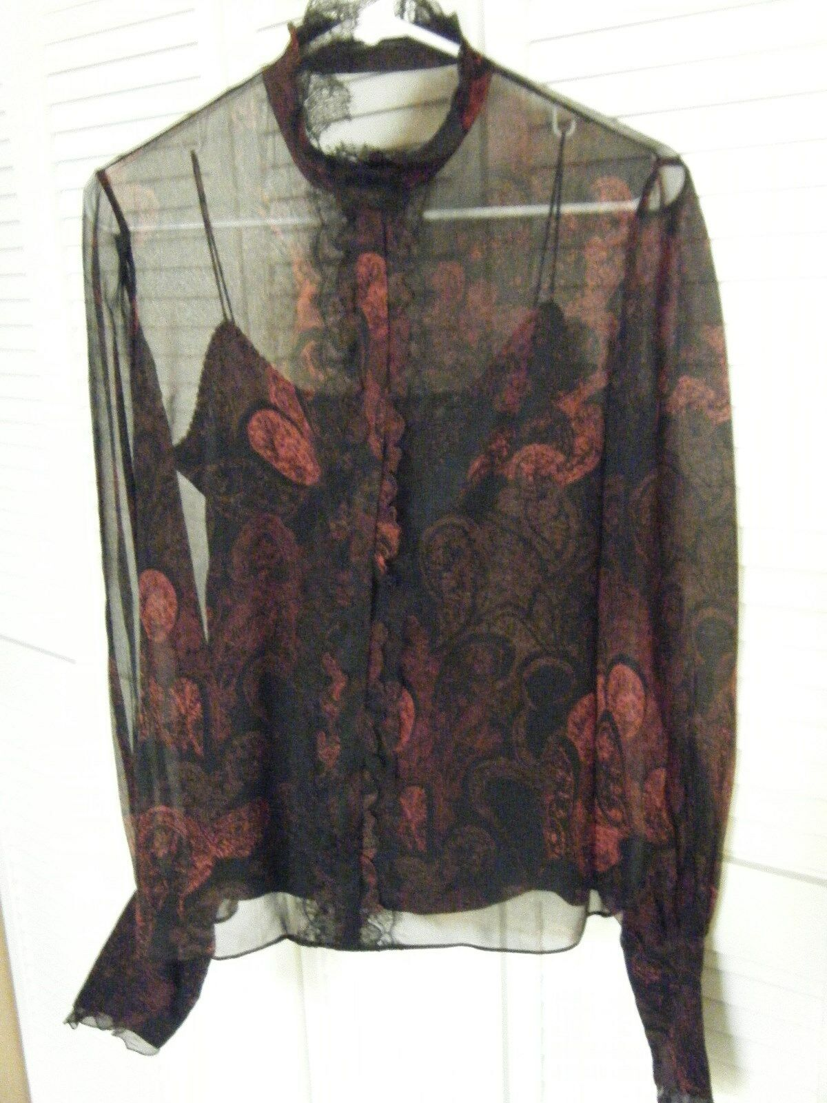 ELIE TAHARI SMALL BLACK RED SILK BLOUSE WITH BLAC… - image 2